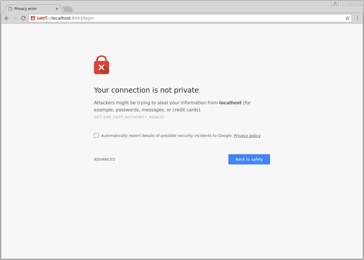 Warning: Self-signed Certificate Chrome